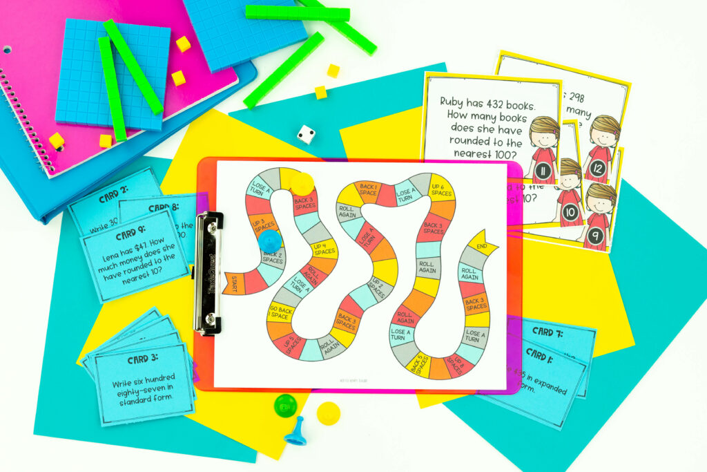 The third grade math curriculum units include task cards, math games and exit tickets