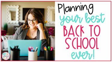 Planning your best back to school ever cover mage with teacher sitting at desk with teal laptop