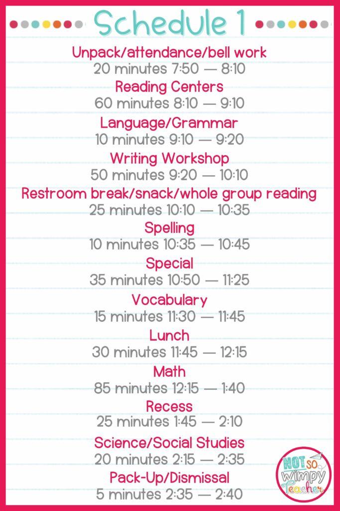 Sample Schedule 1