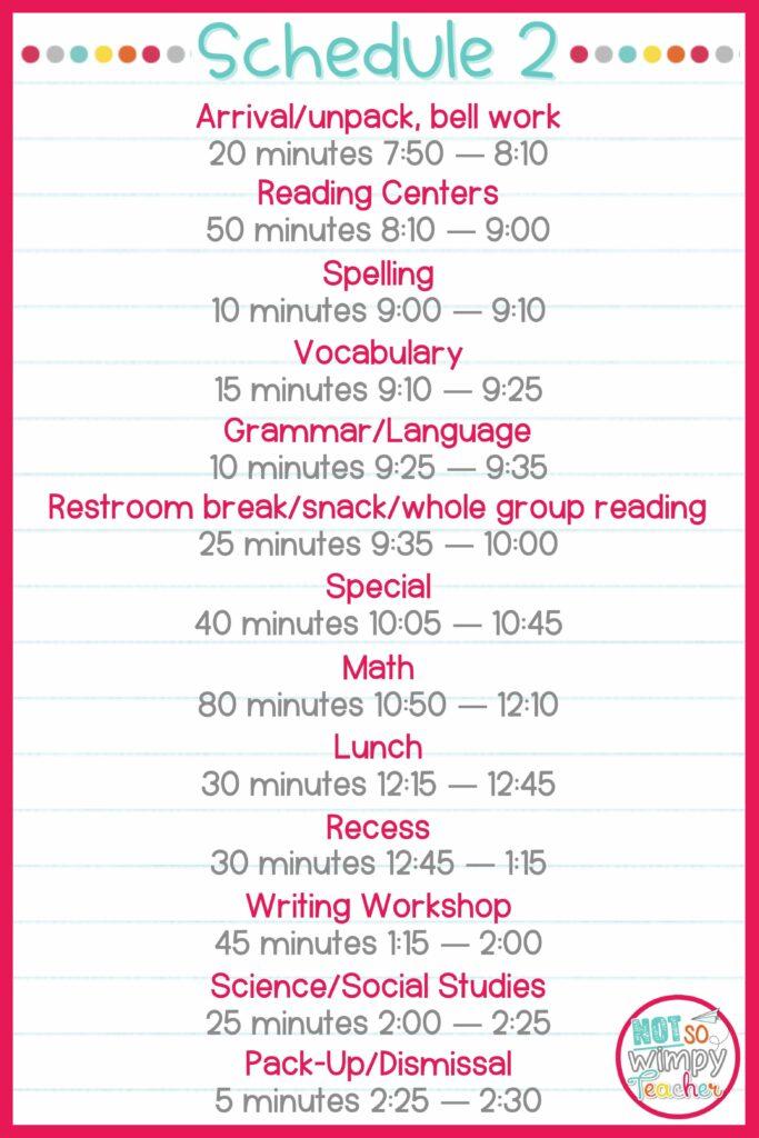 Sample ELA Schedule 2