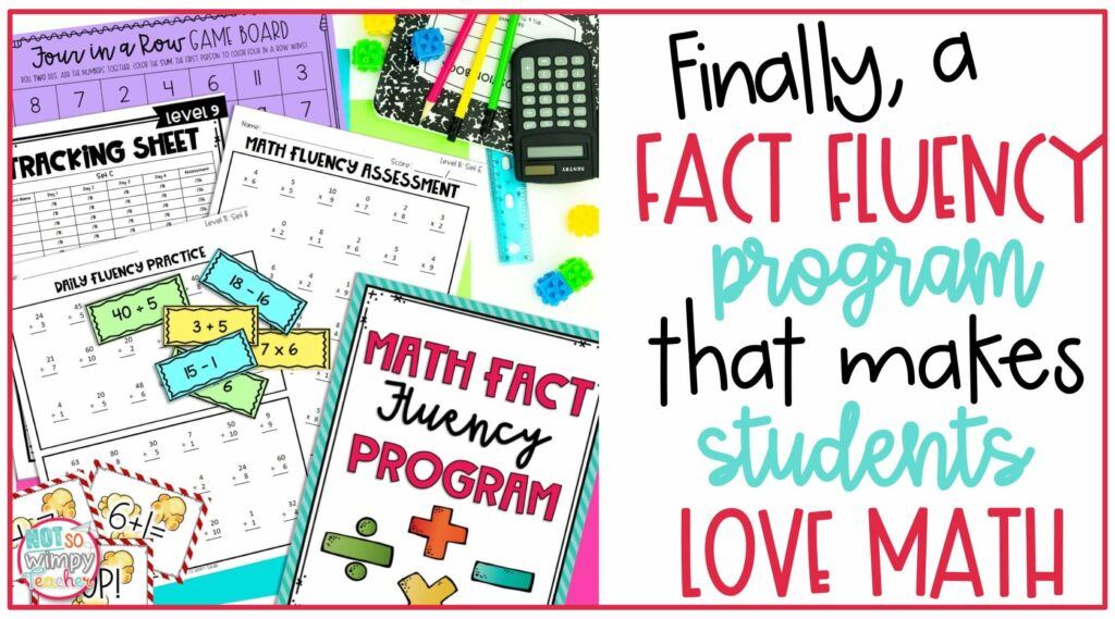 Math fact fluency cover image with flash cards, games, tacking sheets and practice pages