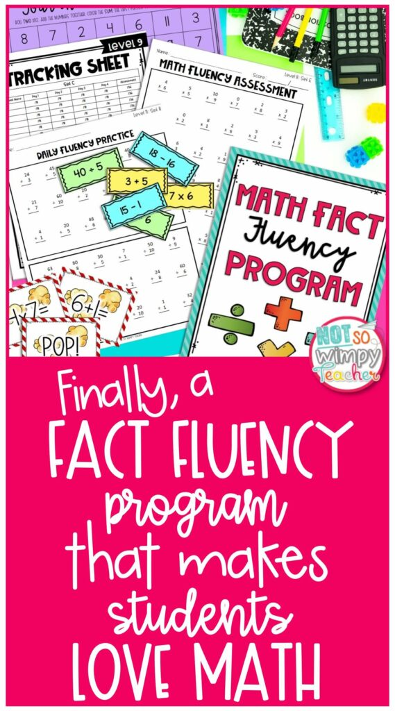 Math Fact fluency pin showing flash cards, games, and practice sheets