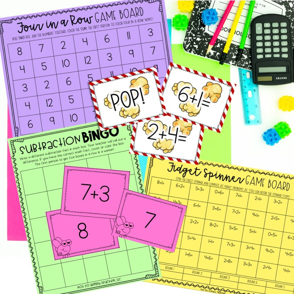 Math fact fluency games on brightly color4d paper with calculator and pencils