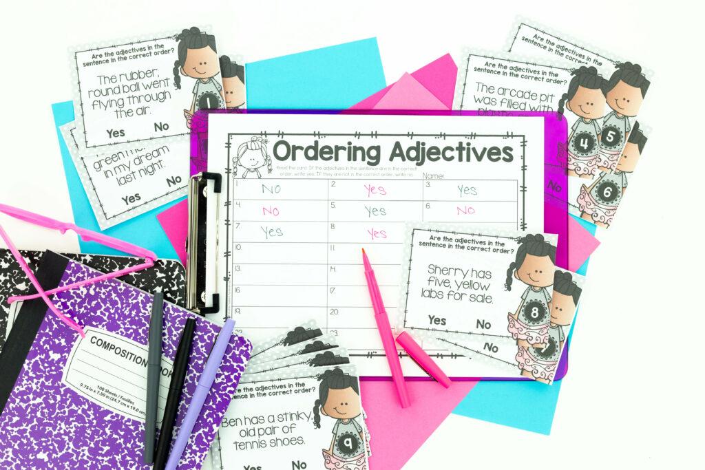 Ordering adjective task card grammar activity makes grammar more fun