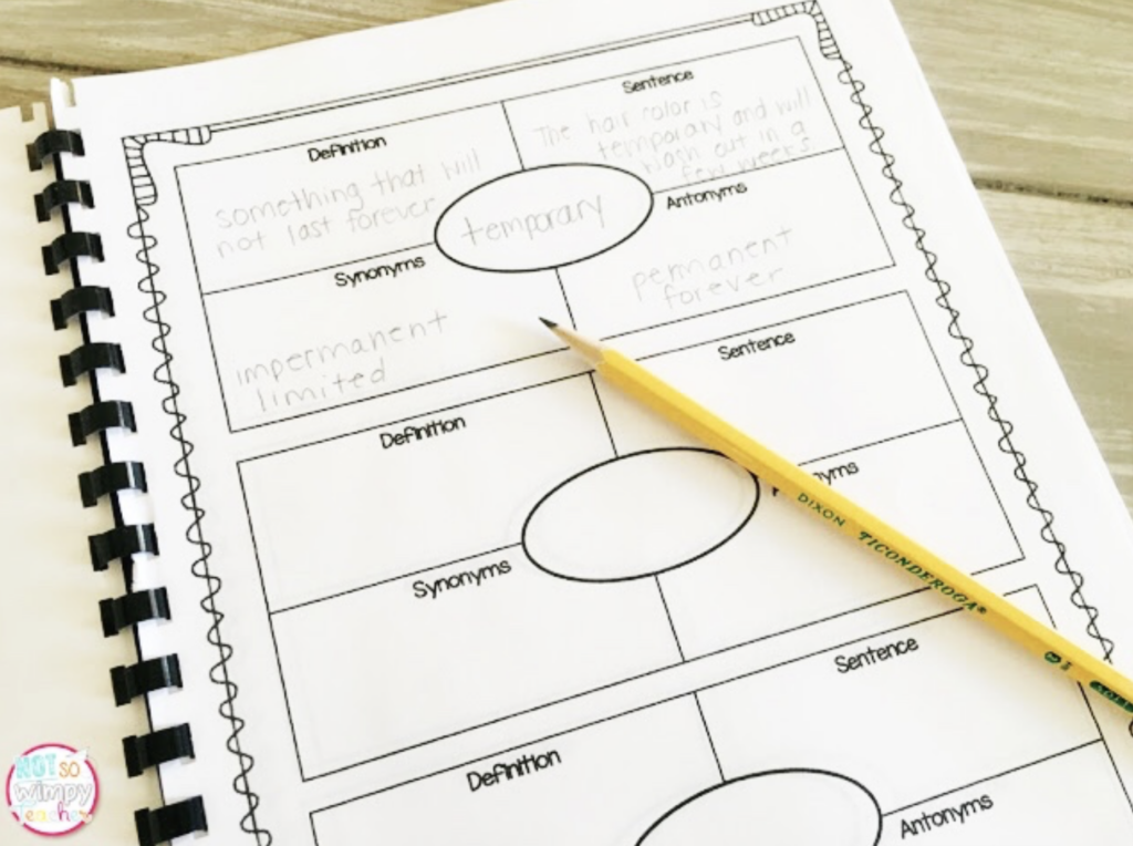 Vocabulary notebook activity with pencil