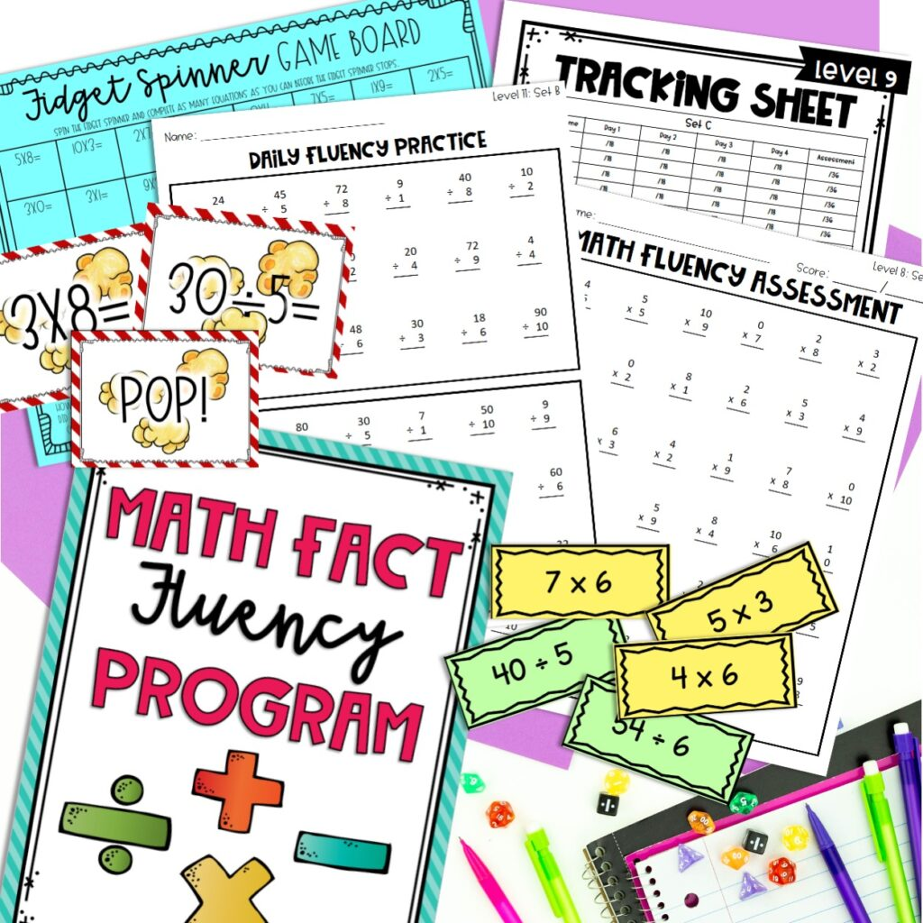 Math fact fluency activities including games, problem sets, flash cards, dice and pencils