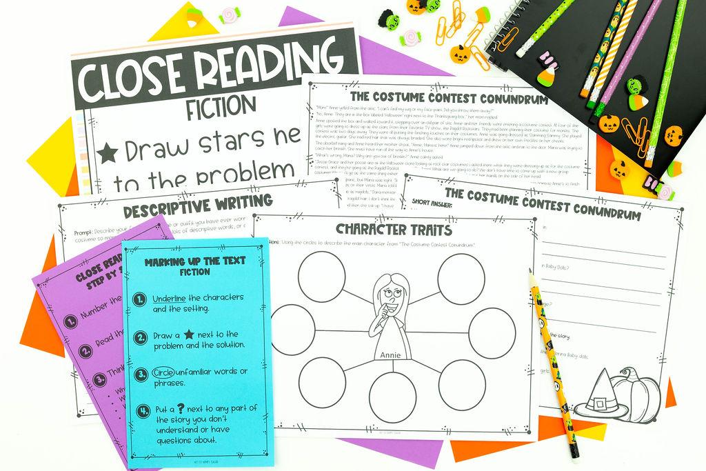 Close reading strategies including examining character traits